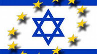 Graphic of Israeli and EU flags