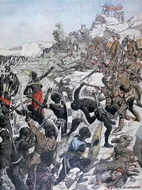 An artistic depiction of the Herero Wars in Namibia where German soldiers lunge bayonets at indigenous peoples armed with spears.