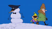 Karikatur von Sergey Elkin Parodie auf Satisfaction-Video