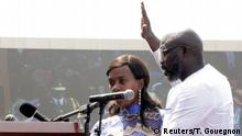 Liberia's George Weah swearing the oath of office