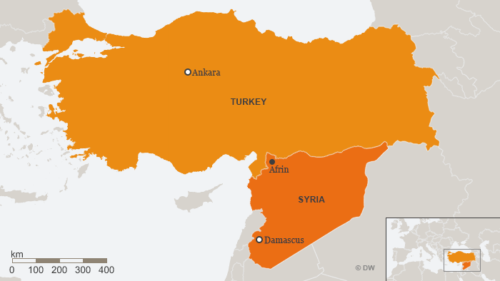 A map of Syria and Turkey showing Afrin