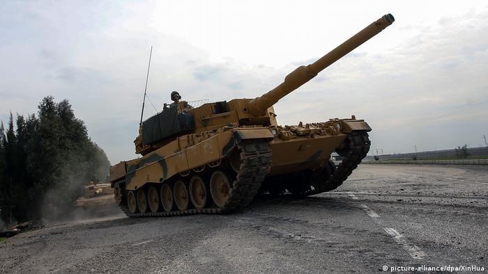 A Leopard 2A4 tank in the Kurdish region