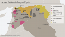 A map shows armed factions holding territory in Iraq and Syria