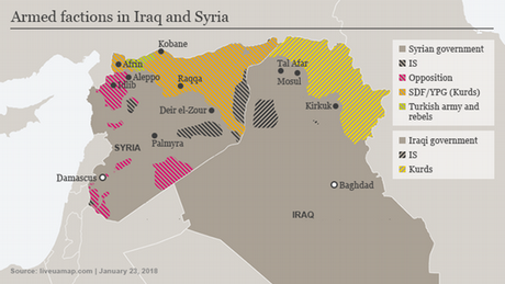 Map showing areas controlled by various armed groups in Iraq and Syria