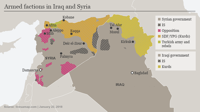 Map showing areas held under various armed factions in Iraq and Syria