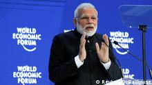 India's Prime Minister Narendra Modi gestures as he speaks during the Opening Plenary during the World Economic Forum (WEF) annual meeting in Davos, Switzerland, January 23, 2018. REUTERS/Denis Balibouse