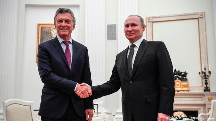 Macri and Putin first met in China on the sidelines of the G20 in 2016