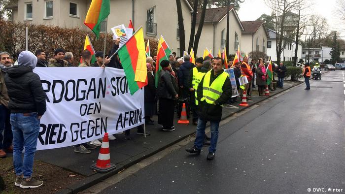Kurdish protest in Bonn against Erdogan military offensive in Syria