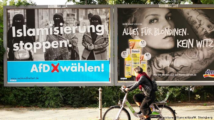 Плакат АдГ с надписью остановить исламизацию