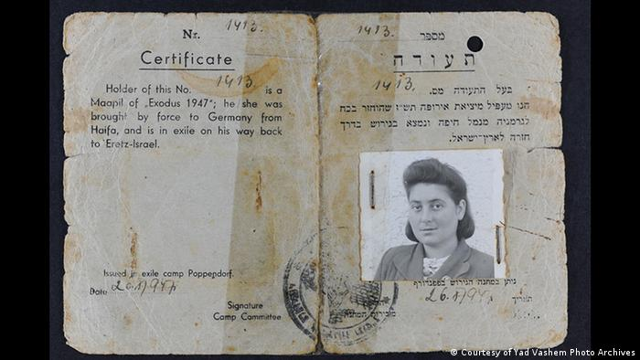Zertifikat mit einem Foto von Rachel Tytelman (Courtesy of Yad Vashem Photo Archives)