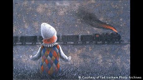 Dibujo que muestra a un niño disfrazado de payaso mirando un tren que pasa.