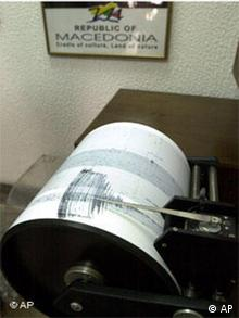 A seismograph based in the Earthquake Institute in Macedonia's capital Skopje shows the magnitued of a strong quake on Tuesday, Feb. 24, 2004. The quake with a magnitude of 5 frightened many of the capital's inhabitants on Tuesday, but there are no reports of injuries or damage. (AP Photo/Boris Grdanoski)