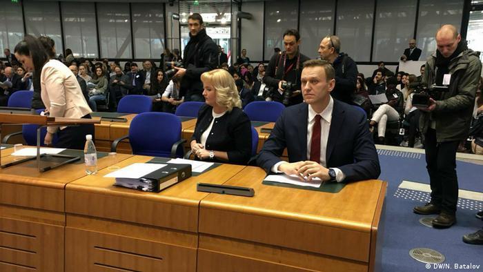 Алексей Навальный и Ольга Михайлова на заседании ЕСПЧ, 24 января 2018 года