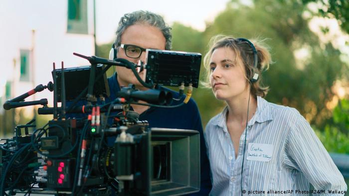 Greta Gerwig on the set of Lady Bird