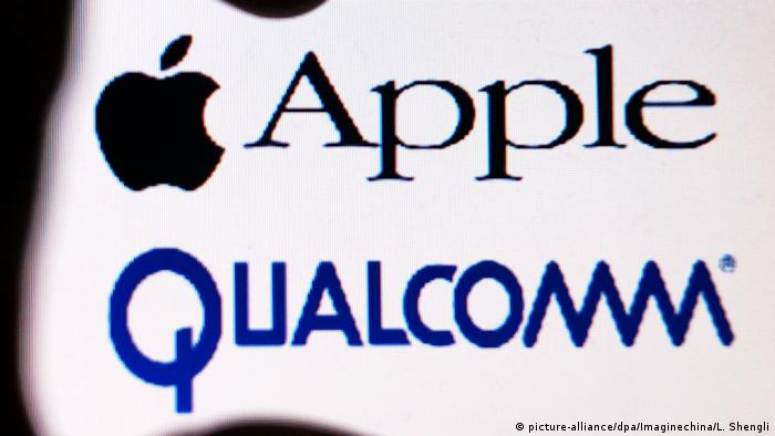USA Apple und Qualcomm Logo (picture-alliance/dpa/Imaginechina/L. Shengli)