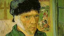 English: A self-portrait by Vincent van Gogh with a bandaged ear. On display in the Courtauld Gallery. Date1889 Place of creationFrance Quelle: https://commons.wikimedia.org/wiki/File:VanGogh-self-portrait-with_bandaged_ear.jpg
