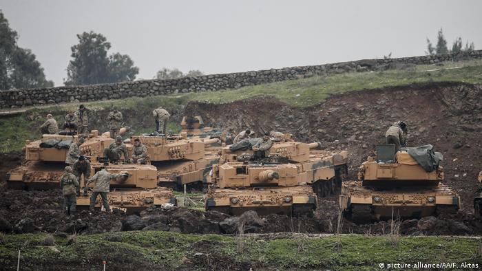 Turkish tanks at the Syrian border taking part in Operation Olive Branch