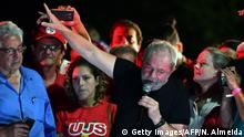 Brasilien ehem. Präsident Lula Da Silva spricht in Demo
