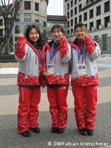 Freiwillige im südkoreanischen Olympia-Ort Pyeongchang