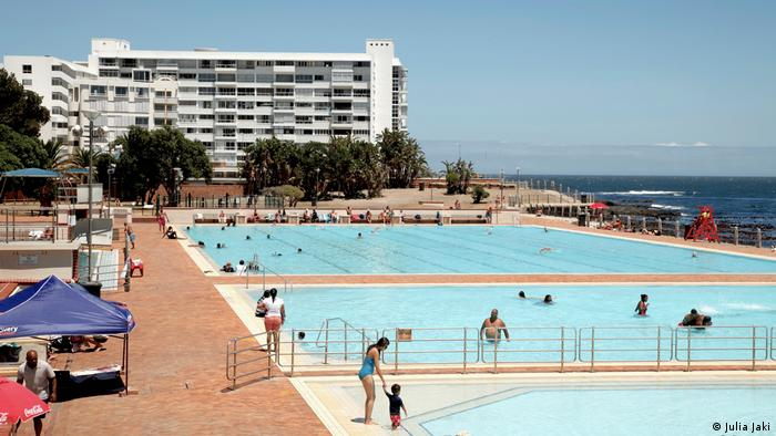 Two public swimming pools are situated next to the sea.