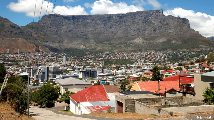 A view over Cape Town, with Table Mountain in the backgroud