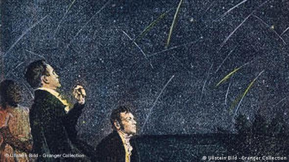 Painting of Humboldt observing a meteor shower