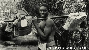 This photograph of 1898 depicts a mailman in Windhoek