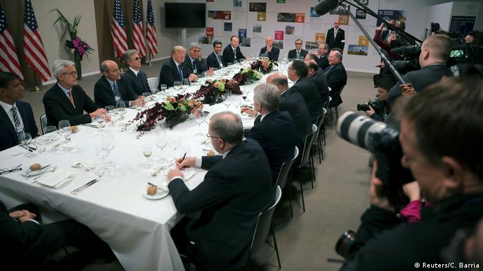U.S. President Donald Trump attends a dinner with business men and CEO's during the World Economic Forum (WEF) annual meeting in Davos