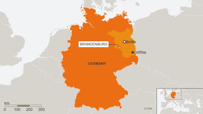 A map showing Cottbus in relation to Berlin - and Germany as a whole