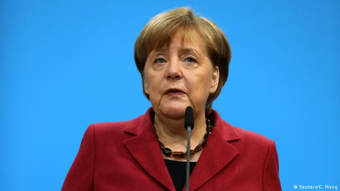 German Chancellor and leader of the Christian Democratic Union (CDU) Angela Merkel gives a statement