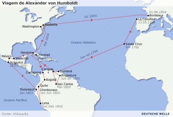 Karte Humboldt Expedition Portugiesisch