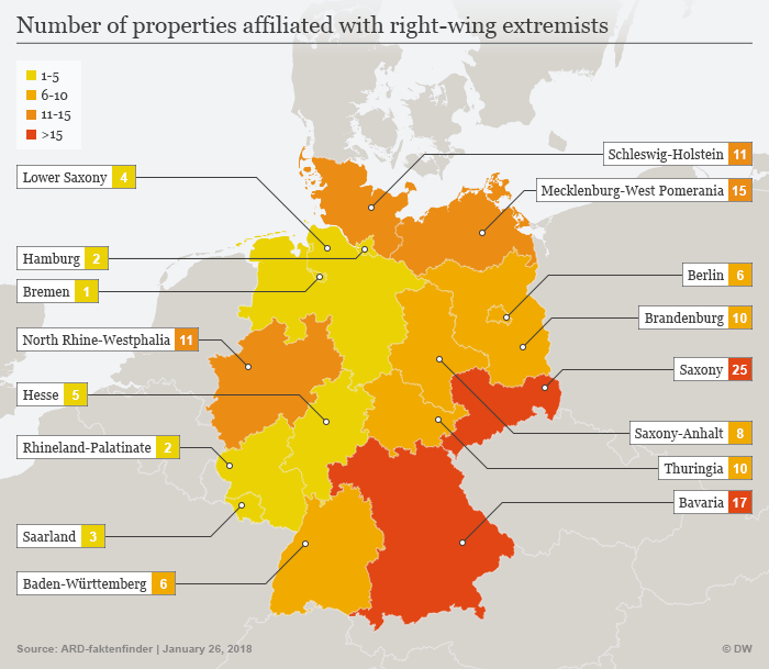 Map shows where right-wing extremists hold real estate in Germany