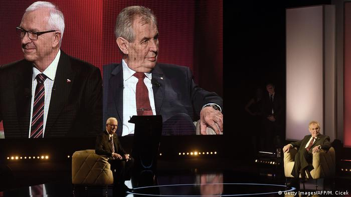 Candidates Jiri Drahos and Milos Zeman during a TV debate in January