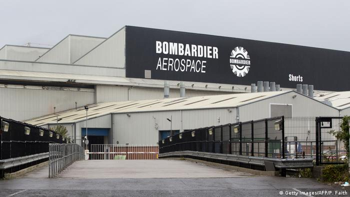 The outside of the Bombardier manufacruting plant in Belfast (Getty Images/AFP/P. Faith)