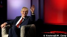 Czech presidential candidate and incumbent Milos Zeman attends a televised debate ahead of an election run-off, in Prague, Czech Republic January 23, 2018. REUTERS/David W Cerny