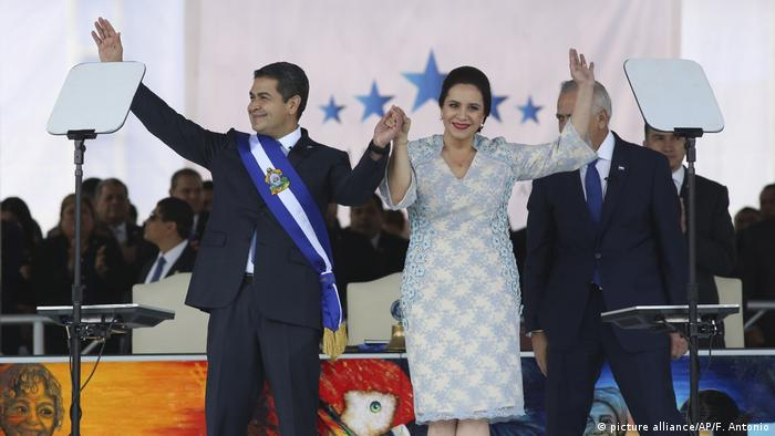 Honduras President Juan Orlando Hernandez and his wife