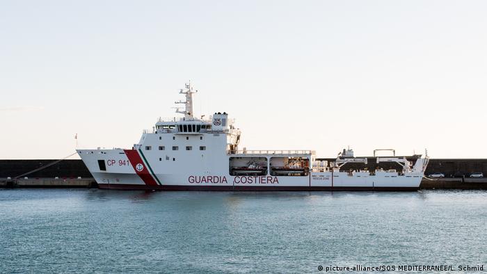 An Italian coast guard ship