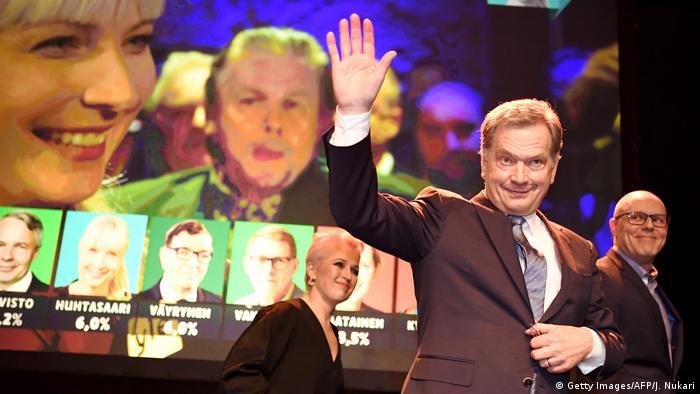 Finland President Sauli Niinisto waves during an election reception