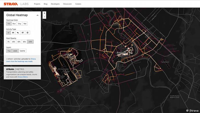 Screenshot Strava Global Heatmap Bagdad Irak (Strava)