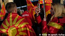 27.01.2018****BERLIN, GERMANY - JANUARY 27: Expatriate Macedonians hold Macedonian flags during a protest rally under the title: For a Common Macedonia on January 27, 2018 in Berlin, Germany. The protest was against the Tirana Platform, a document drafted in Albania that many Macedonians see as seeking to undermine Macedonian statehood and potentially creating tensions in Macedonia among the country's Albanian minority. Macedonia is currently in a row with Greece over its name, as recent protesters in Greece have demanded that Macedonia is only applicable to the Greek territory of the same name. (Photo by Sean Gallup/Getty Images)