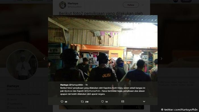 Twitter Screenshot showing Indonesian police conducting raids in Aceh