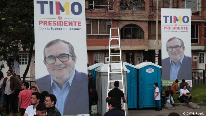 Campaign banners show FARC candidate Rodrigo Londono in Bogota, Colombia