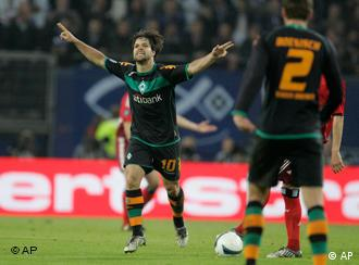 Bremen's Diego scores during the UEFA Cup semifinal soccer match between Werder Bremen and Hamburg