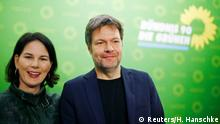 New leaders of the German Green party, Robert Habeck and Annalena Baerbock, attend a news conference at the party headquarters in Berlin, Germany, January 29, 2018. REUTERS/Hannibal Hanschke