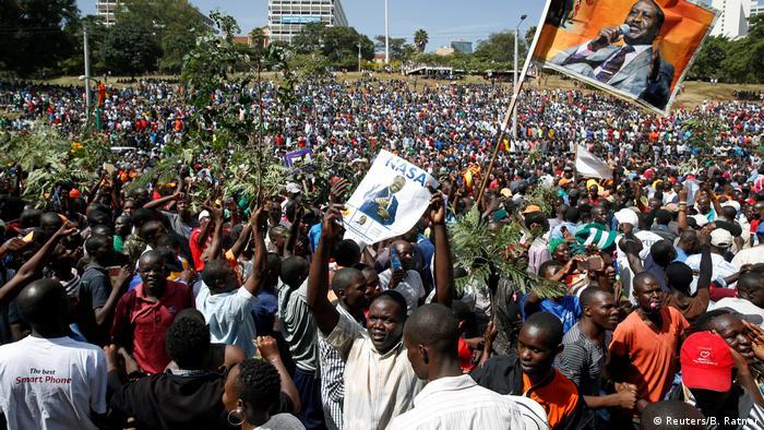 Supporters of Raila Odinga gather in Uhuru Park