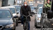 Italy - December 2, 2015 Air pollution caused 84,400 premature deaths, the highest among the EU states according to the latest report from the European Environment Agency (EEA) Italy, Milan - December 08, 2011 Two days car-free and schools closed against air pollution. Tomorrow Friday and Saturday driving will be banned in Milan except for electric cars and other non-polluting vehicles. Also the schools will remain closed till mMonday. The authorities hope the traffic break will help the city reduce air pollution and smog. Archive file of a man wearing a protective mask.   Keine Weitergabe an Wiederverkäufer.