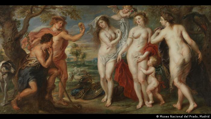 Rubens shows Paris deciding which goddess to give the golden apple to (Museo Nacional del Prado, Madrid)