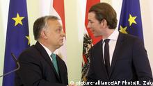 Hungarian Prime Minister Viktor Orban shakes hands with Austrian Chancellor Sebastian Kurz, from left, after a joint news conference at the federal chancellery in Vienna, Austria, Tuesday, Jan. 30, 2018. (AP Photo/Ronald Zak)  