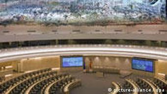 Genfer UN-Sitzungssaal mit Monumental-Kunstwerk