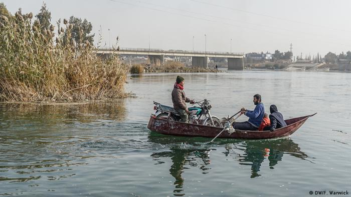 A rowing boat on the Euphrates river